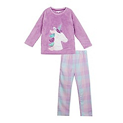 bluezoo - Girls' lilac unicorn applique pyjama set
