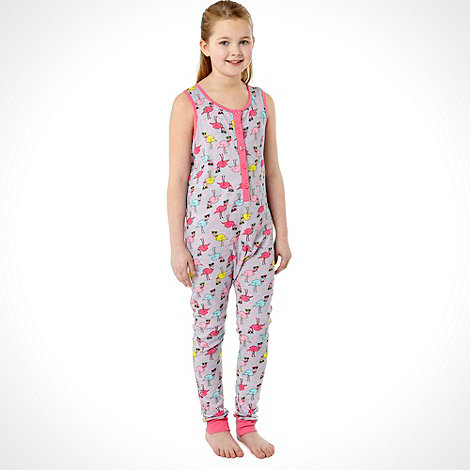 bluezoo - Girl+s grey flamingo onesie