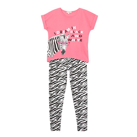 bluezoo - Girl+s black and pink zebra printed pyjamas