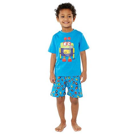 bluezoo - Boy+s blue robot printed shortie pyjamas