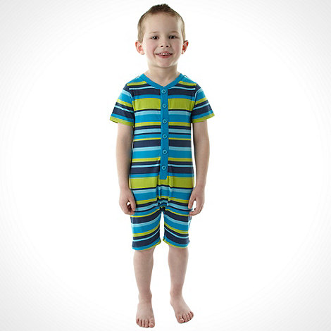 bluezoo - Boy+s blue striped all in one pyjama suit