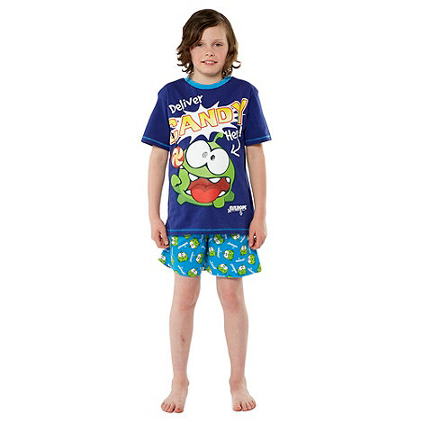 Cut the rope - Boy+s blue +deliver Candy Here+ printed pyjamas