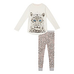 bluezoo - Girl's white and grey leopard print pyjama set