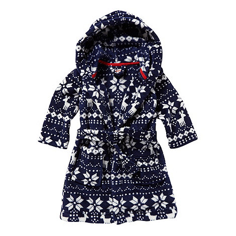 bluezoo - Boy+s navy fairisle dressing gown