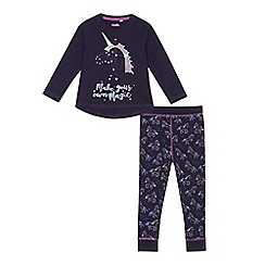 bluezoo - Girls' navy 'Make your own magic' pyjama set