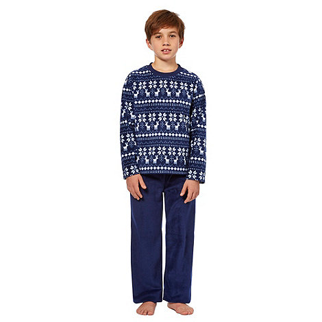 bluezoo - Boy+s navy fairisle fleece pyjamas