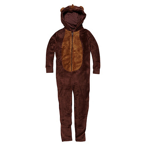 bluezoo - Boy+s brown monkey fleece onesie