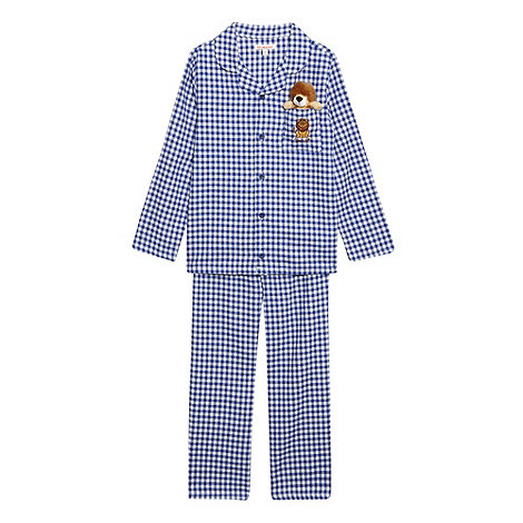bluezoo - Boy+s blue gingham checked pyjamas with toy