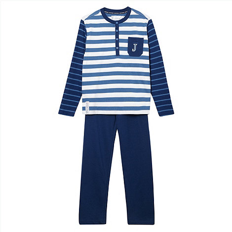J by Jasper Conran - Boy+s blue striped top pyjamas