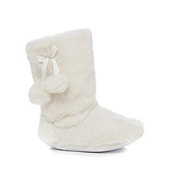 bluezoo - Girls' cream faux fur slippers