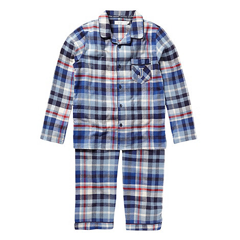 J by Jasper Conran - Boy+s blue woven checked pyjamas