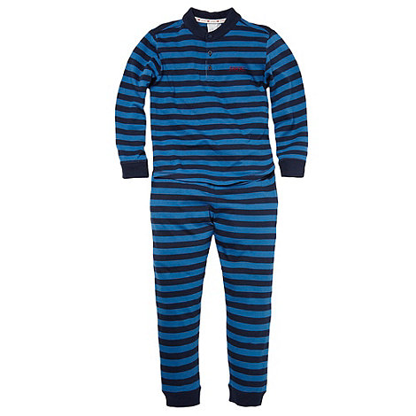 J by Jasper Conran - Boy+s blue striped snuggle pyjamas