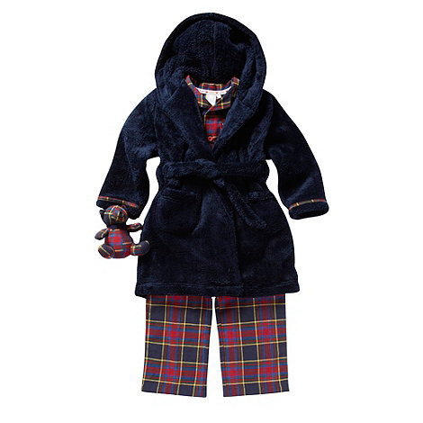 J by Jasper Conran - Boy+s navy pyjamas, dressing gown and teddy set