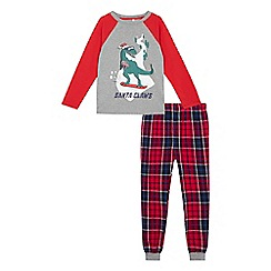 bluezoo - Boys; grey and red dinosaur 'Santa Claws' pyjama set