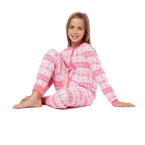bluezoo - Girl+s pink fairisle onesie
