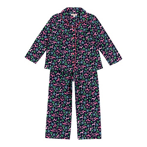 bluezoo - Girl+s navy reindeer printed woven pyjamas