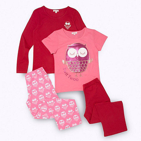 bluezoo - Girl+s pack of two pink owl pyjamas