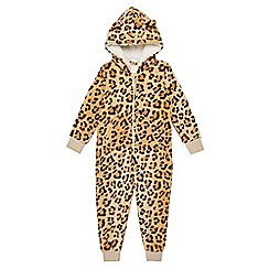 bluezoo - Girls' leopard print ear applique onesie