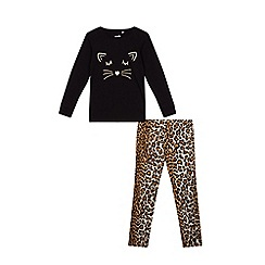 bluezoo - Girls' brown leopard print pyjama set
