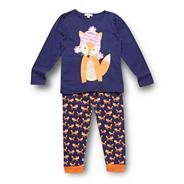 Girl's navy fox pyjama set