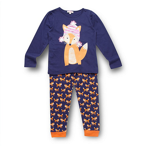 bluezoo - Girl+s navy fox pyjama set