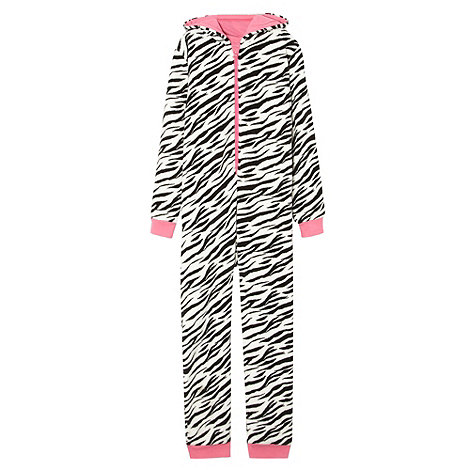 bluezoo - Girl+s white zebra onesie