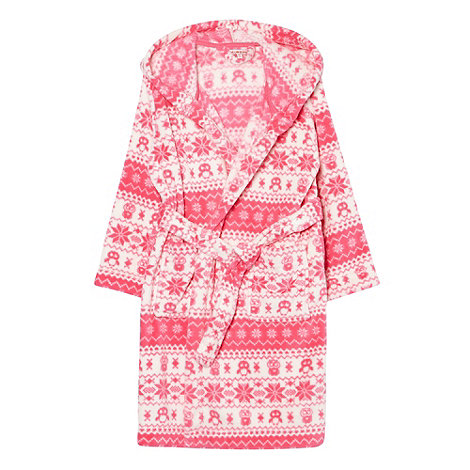 bluezoo - Girl+s pink fairisle dressing gown