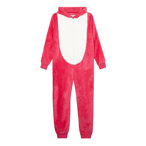bluezoo - Girl's pink fox fleece onesie