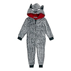 bluezoo - Boys' grey wolf applique onesie