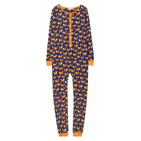 bluezoo - Girl+s navy fox printed onesie