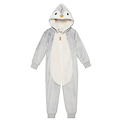 bluezoo - Kids' grey Christmas penguin onesie