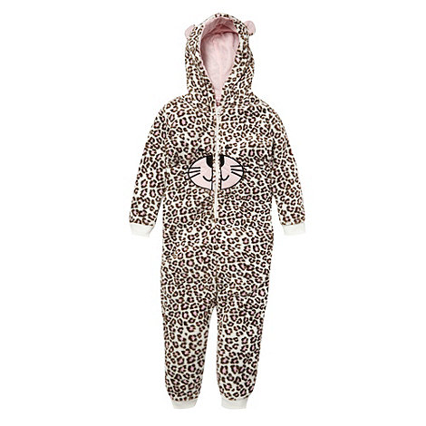 bluezoo - Girl's brown onesie leopard