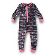 Girl's navy 'Sleep' printed onesie