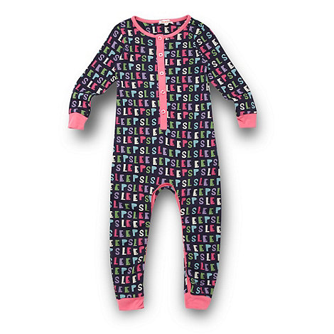 bluezoo - Girl+s navy +Sleep+ printed onesie