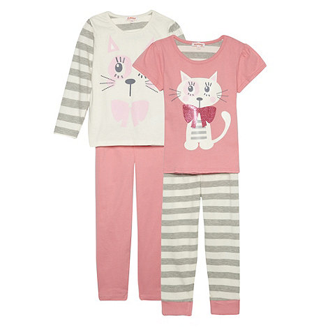 bluezoo - Girl+s pack of two cat printed pyjamas