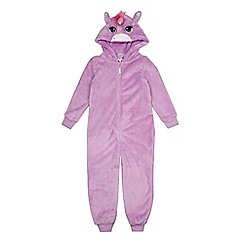 bluezoo - Girls' pink unicorn applique onesie