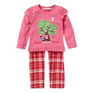 Girl's pink applique owl pyjama set