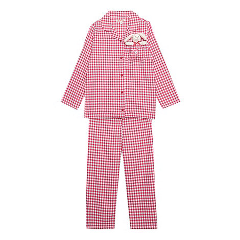 bluezoo - Girl's pink gingham pyjamas with toy