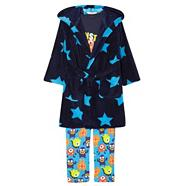 Boy's blue monsters' pyjama, robe and toy set