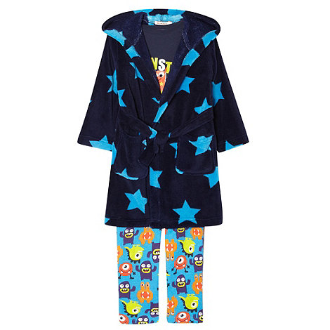 bluezoo - Boy+s blue monsters+ pyjama, dressing gown and toy set