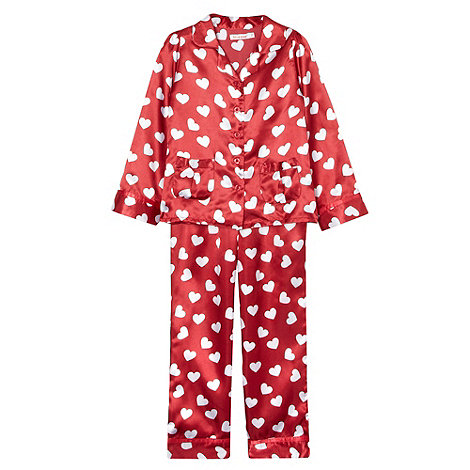 bluezoo - Girl+s red heart printed satin pyjamas