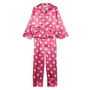 Girl's pink heart printed satin pyjamas