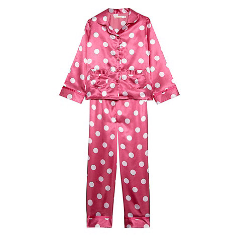 bluezoo - Girl+s pink spot printed satin pyjamas