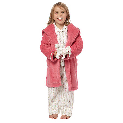 J by Jasper Conran - Girl+s pink pyjama, dressing gown and teddy set