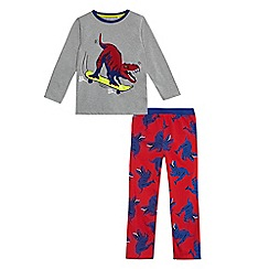 bluezoo - Boys' grey dinosaur print pyjama set