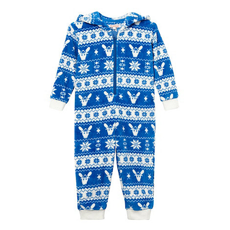 bluezoo - Boy+s blue fairisle onesie