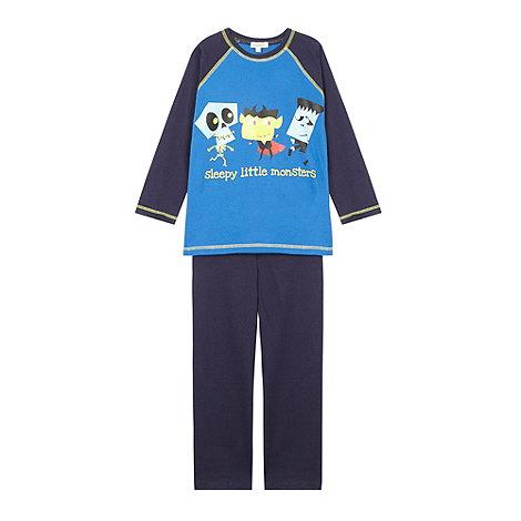 bluezoo - Boy+s blue +Sleepy little monster+ pyjama set