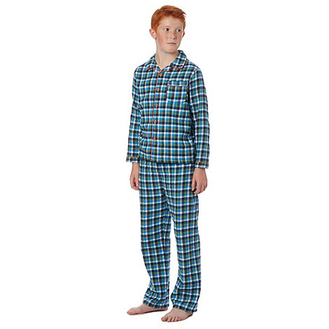 bluezoo - Boy+s blue woven checked pyjamas