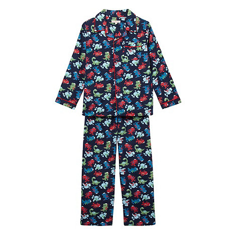 bluezoo - Boy+s blue woven dinosaur pyjamas