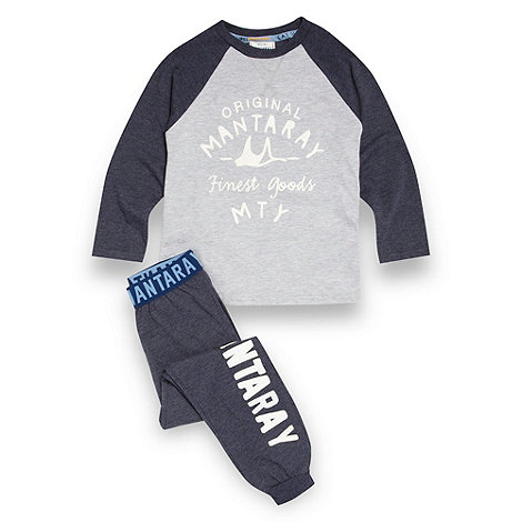 Mantaray - Boy+s navy logo printed jersey top and bottoms pyjama set
